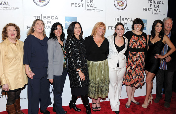 "Premiere Of ""The Perfect Family"" At The 2011 Tribeca Film Festival [the perfect family,red carpet,premiere,event,carpet,fashion,flooring,little black dress,dress,fashion design,rebecca wackler,anne renton,connie cummings,jennifer dubin,kathleen turner,l-r,2011 tribeca film festival,premiere,premiere]"