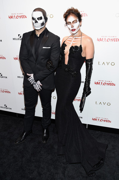 Heidi Klum's 16th Annual Halloween Party sponsored by GSN's Hellevator and SVEDKA Vodka At LAVO New York - Arrivals [fashion,carpet,dress,event,red carpet,gothic fashion,flooring,fashion design,premiere,goth subculture,arrivals,heidi klum,hellevator,casper smart,jennifer lopez,new york city,halloween party,svedka vodka,gsn,lavo new york]