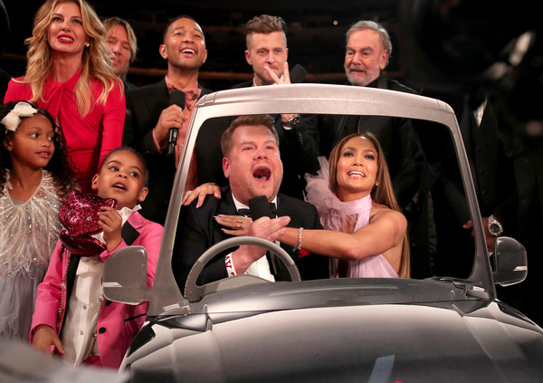 The 59th GRAMMY Awards -  Roaming Show [motor vehicle,people,social group,fun,luxury vehicle,vehicle,event,automotive design,car,smile,james corden,guest,faith hill,ivy carter,keith urban,john legend,l-r,staples cent,grammy awards - roaming show,grammy awards]