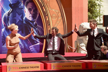 """Jeremy Renner Mark Ruffalo Marvel Studios' """"Avengers: Endgame"""" Stars Place Handprints In Cement At TCL Chinese Theatre"""