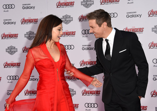 Premiere Of Marvel's 'Avengers: Age Of Ultron' - Arrivals [avengers: age of ultron,red,red carpet,carpet,event,premiere,flooring,ming-na wen,arrivals,jeremy renner,dolby theatre,california,hollywood,marvel,premiere]