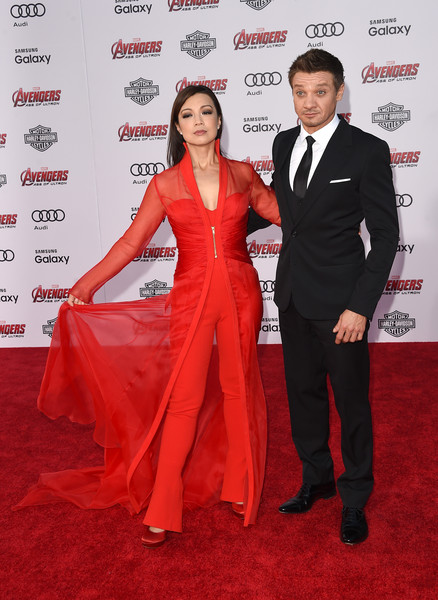 Premiere Of Marvel's 'Avengers: Age Of Ultron' - Arrivals [avengers: age of ultron,red carpet,carpet,red,suit,formal wear,tuxedo,premiere,dress,event,flooring,ming-na wen,arrivals,jeremy renner,dolby theatre,california,hollywood,marvel,premiere]