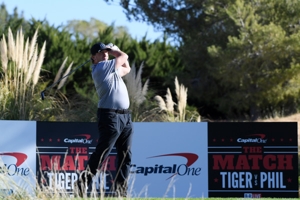 The Match: Tiger vs. Phil – Pro-Am Tournament [shot,advertising,recreation,tree,competition event,competition,banner,jeremy roenick,las vegas,nevada,shadow creek golf course,nhl,match: tiger vs phil -- pro-am tournament,pro-am tournament for the match: tiger vs phil]