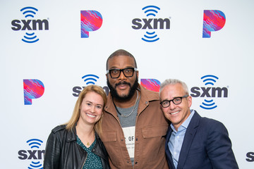 Jess Cagle Julia Cunningham Tyler Perry Visits The SiriusXM Hollywood Studios In Los Angeles