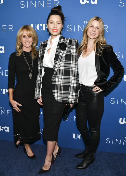 "Premiere Of USA Network's ""The Sinner"" Season 3 - Red Carpet [red carpet,the sinner,clothing,fashion,premiere,outerwear,plaid,event,footwear,electric blue,long hair,tartan,dawn olmstead,jessica biel,bonnie hammer,l-r,the london west hollywood,usa network,premiere,season,jessica biel,the sinner,getty images,stock photography,photography,photograph,image,celebrity,royalty-free]"