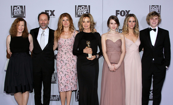 Fox Searchlight 2012 Golden Globe Awards Party - Arrivals [event,premiere,dress,fashion,little black dress,carpet,black-and-white,formal wear,flooring,red carpet,frances conroy,john landgraf,actors,sarah paulson,l-r,hotel,party,fox searchlight,fx,golden globe awards]