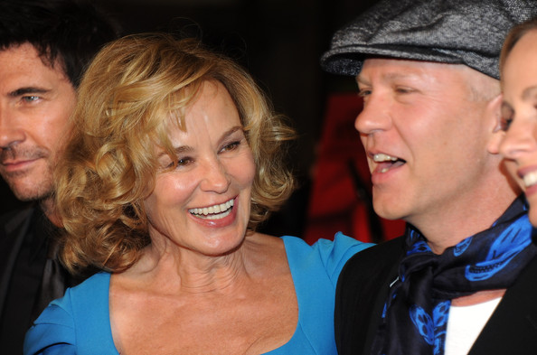 """Jessica Lange Actress Jessica Lange (L) and producer Ryan Murphy arrive at the premiere of FX's """"American Horror Story"""" at the Arclight Cineramadome on October 3, 2011 in Hollywood, California."""