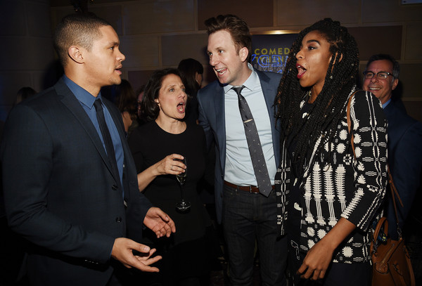 Comedy Central Live 2016 Upfront - After Party [trevor noah,comedians,president,michele ganeless,jordan klepper,jessica williams,comedy central live 2016,l-r,event,fashion,suit,formal wear,performance,party,comedy central]
