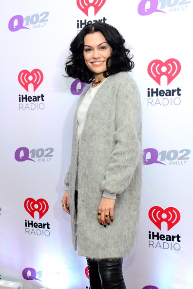 Backstage at Q102's Jingle Ball  [clothing,outerwear,fashion,footwear,magenta,black hair,fashion design,eyelash,style,jessie j,philadelphia,pennsylvania,wells fargo center,q102,jingle ball,jingle ball 2014]