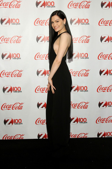 Backstage at the Z100 & Coca-Cola All Access Lounge  [clothing,dress,shoulder,cocktail dress,premiere,long hair,formal wear,fashion model,little black dress,jessie j,all access lounge,new york city,hammerstein ballroom,z100,coca-cola,jingle ball 2014,pre-show]