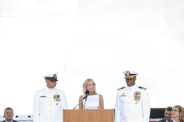 Jill Biden Commissioning Ceremony Held For The USS Gabrielle Giffords