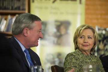 Jim Kenney Hillary Clinton Attends Roundtable with Philadelphia Mayor Jim Kenney
