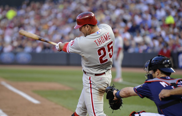 Philadelphia Phillies v Minnesota Twins [baseball player,sports,baseball equipment,sport venue,baseball uniform,team sport,ball game,player,baseball,bat-and-ball games,jim thome,joe mauer 7,home run,minnesota,minneapolis,target field,philadelphia phillies,minnesota twins]