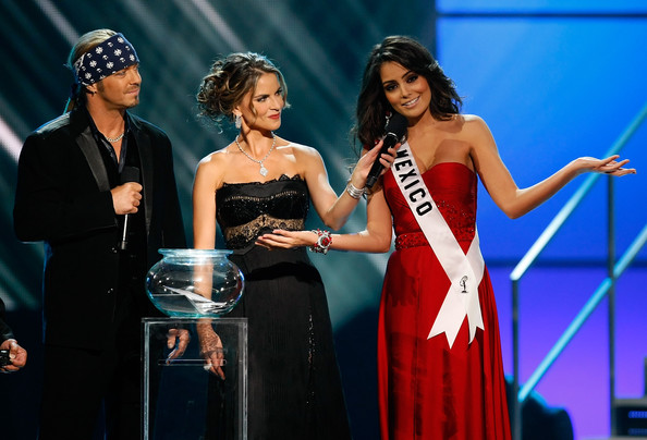 Jimena Navarrete (L-R) Poison singer and co-host Bret Michaels, and NBC News anchor and co-host Natalie Morales listen as Miss Mexico 2010, Jimena Navarrete, answers a question during the interview portion of the 2010 Miss Universe Pageant at the Mandalay Bay Events Center August 23, 2010 in Las Vegas, Nevada. Navarrete went on to be crowned the new Miss Universe.