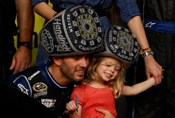 Jimmie celebrates with daughter Evie
