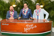 """Greg Garcia, Christopher Ashley and Mike O'Malley attend the Broadway premiere of """"Escape to Margaritaville"""" the new musical featuring songs by Jimmy Buffett at the Marquis Theatre on March 15, 2018 in New York City."""