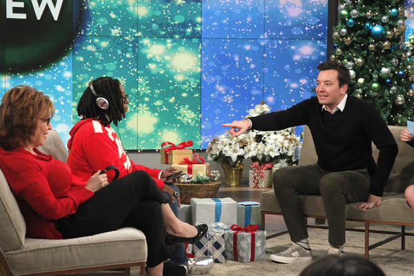 "ABC's ""Jimmy Kimmel Live"" - Season 15 [jimmy kimmel live,season,the view,photo,community,christmas,christmas eve,event,fun,sitting,room,interior design,leisure,photography,jimmy fallon,joy behar,whoopi goldberg,airing,abc,getty images]"