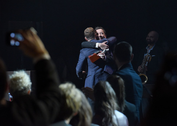 2015 Memphis Music Hall of Fame Induction Ceremony [performance,event,performing arts,audience,crowd,fun,music artist,stage,microphone,hand,justin timberlake,jimmy fallon,induction award,memphis,tennessee,cannon center,memphis music hall of fame induction ceremony,memphis music hall of fame induction ceremony]