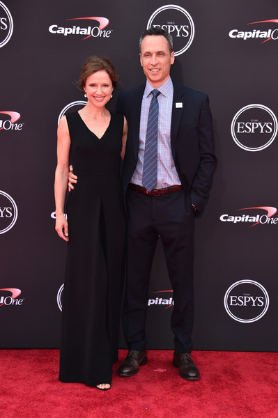 The 2018 ESPYS - Arrivals [red carpet,carpet,suit,formal wear,event,tuxedo,premiere,flooring,dress,award,arrivals,jimmy pitaro,jean louisa kelly,microsoft theater,los angeles,california,espn,espys]