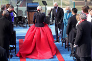 "U.S. President-elect Joe Biden greets singer Lady Gaga as she arrives to perform ""The Star-Spangled Banner"" during his inauguration on the West Front of the U.S. Capitol on January 20, 2021 in Washington, DC. During today's inauguration ceremony Biden becomes the 46th President of the United States."