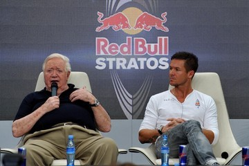 Joe Kittinger Felix Baumgartner Holds Press Conference At Red Bull Hangar 7