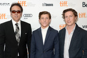 (L-R) Actors Nicolas Cage, Tye Sheridan and director David Gordon Green arrive at the 'Joe' Premiere during the 2013 Toronto International Film Festival at Princess of Wales Theatre on September 9, 2013 in Toronto, Canada.