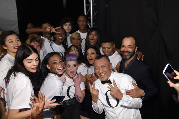 Naomi Campbell's Fashion For Relief Charity Fashion Show - Backstage [naomi campbell,kelly osbourne,brad goreski,rosario dawson,joe zee,winnie harlow,jeffrey wright,backstage,rose bertram,social group,youth,event,fun,friendship,photography,party,crowd,smile,selfie,fashion for relief charity fashion show]