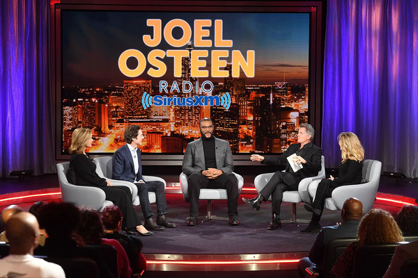 Actor, Comedian Tyler Perry Sits Down for SiriusXM's Town Hall Event Hosted By Joel & Victoria Osteen [stage,event,convention,performance,music venue,audience,theatre,talent show,heater,interior design,joel osteen,victoria osteen,actor,comedian,tyler perry,matt crouch,laurie crouch,l-r,tyler perry sits down for siriusxm,town hall event]