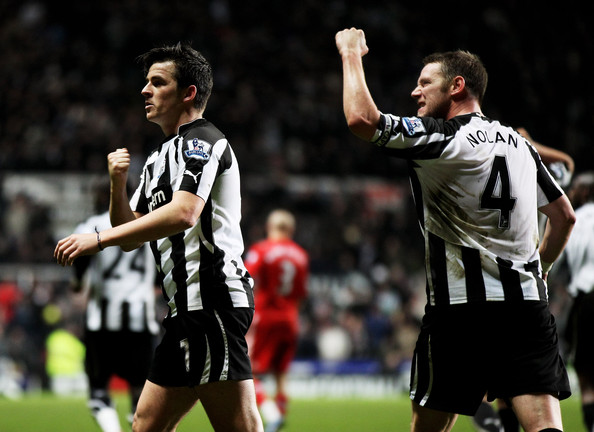 Kevin Nolan and Joey Barton - Newcastle United v Liverpool - Premier League