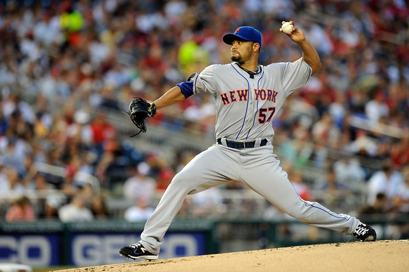 Johan Santana #57 of the New York Mets throws a pitch against the Washington Nationals at Nationals Park on August 17, 2012 in Washington, DC.