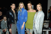 (L-R) Pritika Swarup, Charlott Cordes, Nina Agdal and Delilah Belle Hamlin attend the John John Fashion Show during New York Fashion Week at Gallery I at Spring Studios on February 12, 2019 in New York City.