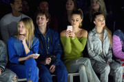 (L-R) Charlott Cordes, Warren Elgort, Nina Agdal and Delilah Belle Hamlin attends the John John Fashion Show during New York Fashion Week at Gallery I at Spring Studios on February 12, 2019 in New York City.