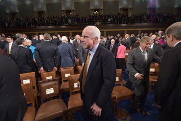 John McCain Barack Obama Delivers State of the Union Address