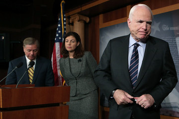 John McCain Lindsey Graham McCain, GOP Senators Discuss Benghazi Terrorist Attack AT News Conference
