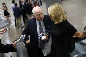 John McCain Senate Lawmakers Speak to the Press After Their Weekly Party Luncheons