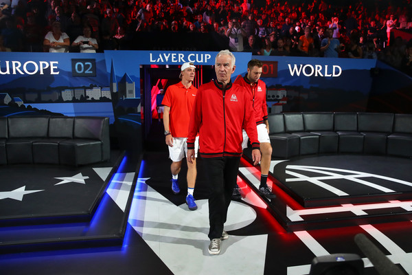 Laver Cup 2019 - Day 1 [sport venue,fan,arena,competition event,games,john mcenroe,captain of team world,players,denis shapovalov,jack sock,doubles,team europe,team world,laver cup,day one]