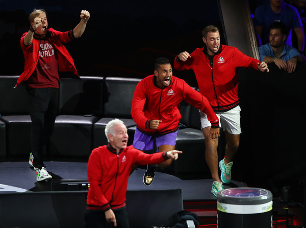 Laver Cup 2019 - Day 3 [physical fitness,performance,sports,competition,event,team,competition event,performing arts,players,dominic thiem,rest,team europe,palexpo,switzerland,team world,taylor fritz of team world,laver cup,singles match]