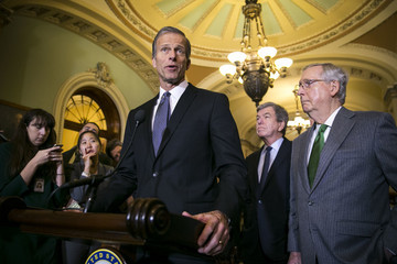 John Thune Senate Lawmakers Address the Media After Their Weekly Policy Luncheons