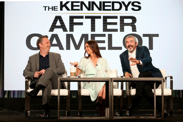 2017 Winter TCA Tour - Day 9 [television show,the kennedys,camelot,event,television program,conversation,font,performance,news conference,media,jon cassar,actors,matthew perry,katie holmes,l-r,winter tca,portion]