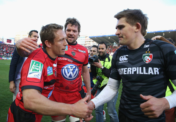 Toulon v Leicester Tigers [final,product,player,team sport,team,sports,football player,ball game,championship,fan,soccer,jonny wilkinson,toby flood,v,all,points,toulon,leicester tigers,heineken cup,l]