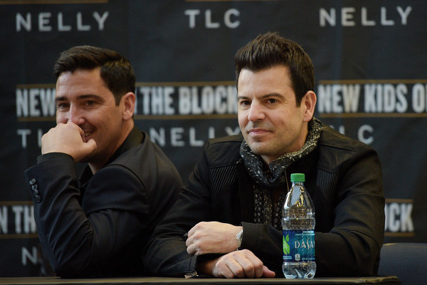 New Kids on the Block Press Conference [liqueur,alcohol,event,drink,distilled beverage,games,news conference,jonathan knight,jordan knight,l-r,new kids on the block press conference,new york city,madison square garden]
