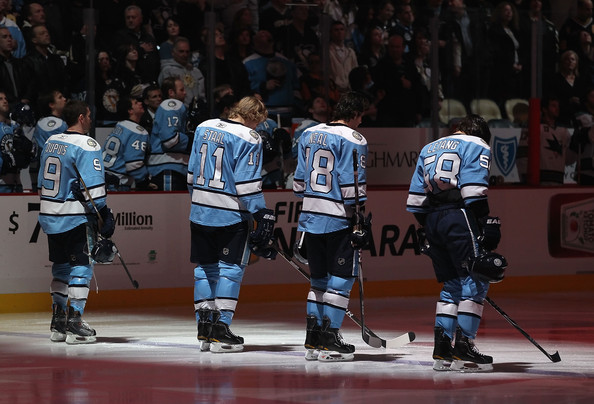 San Jose Sharks v Pittsburgh Penguins [national anthem,sports,college ice hockey,hockey,ice hockey,sports gear,bandy,stick and ball games,ice hockey equipment,hockey protective equipment,tournament,jordan staal,pascal dupuis 9,kris letang,james neal,l-r,san jose sharks,pittsburgh penguins,nhl,game]