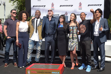 Jordana Brewster Michelle Rodriguez Vin Diesel Immortalized With Hand And Footprint Ceremony