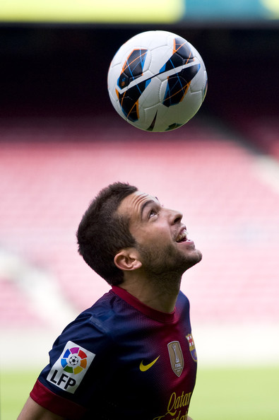 Jordi Alba Jordi Alba juggles the ball during his official presentation as the new signing for FC Barcelona at the Camp Nou Stadium on July 5, 2012 in Barcelona, Spain.