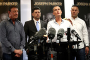 David Higgins of Duco Events speaks alongside Joseph Parker (R) and trainer Kevin Barry (L) during a press conference at Duco Events Office on November 8, 2017 in Auckland, New Zealand.