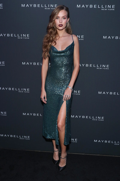 Maybelline New York Fashion Week Party September 2019 [dress,clothing,cocktail dress,shoulder,fashion model,fashion,hairstyle,premiere,joint,leg,josephine skriver,new york city,maybelline new york fashion week,party,party,new york fashion week]