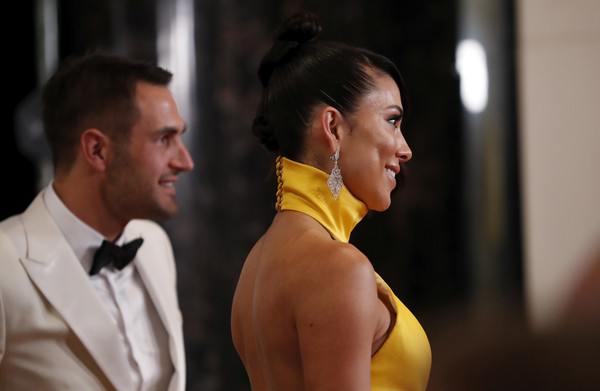 2019 Brownlow Medal [yellow,fashion,formal wear,shoulder,dress,suit,event,neck,muscle,smile,kennedy brownlow red carpet,josh kennedy,partner,brownlow medal,melbourne,australia,crown palladium,swans,ana calle,arrivals]