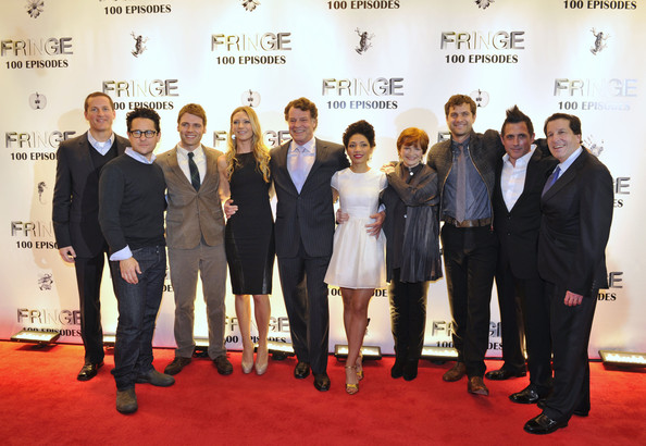 """Fringe"" Celebrates 100 Episodes And Final Season [episodes,season,episodes,red carpet,carpet,event,premiere,flooring,white-collar worker,suit,award,company,team,j.j.,j.h.,chief operating officer,members,president,l-r,fringe]"