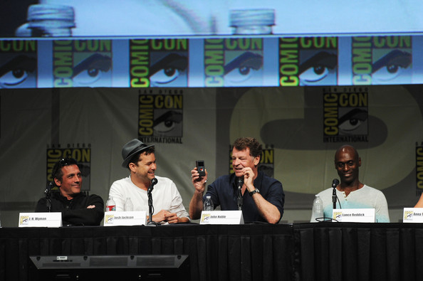 """Fringe"" Panel - Comic-Con International 2012 [j.h.,actors,wyman,lance reddick,joshua jackson,john noble,event,news conference,forehead,technology,convention,table,media,world,academic conference,fringe panel - comic-con international,comic-con international 2012,san diego convention center,california]"