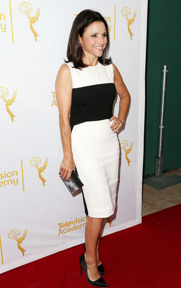 66th Emmy Awards Celebration [clothing,white,shoulder,dress,pencil skirt,carpet,waist,cocktail dress,fashion model,red carpet,julia louis-dreyfus,beverly hills,california,montage beverly hills hotel,television academy,performers peer group celebrates,performers peer group celebrates the 66th emmy awards]